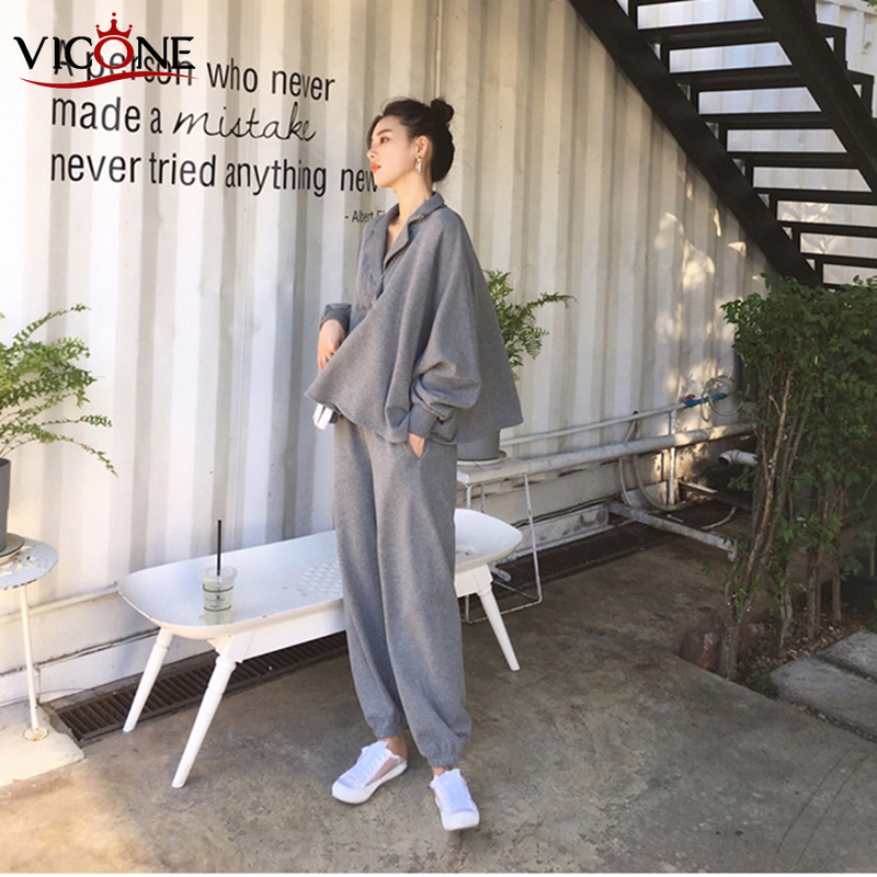 VICONE Autumn Women 2 Piece Set Pants Suit Tracksuit Sweatshirts Casual  Long Sleeve Solid  Suit Tops+Pants Sporting Suit Female