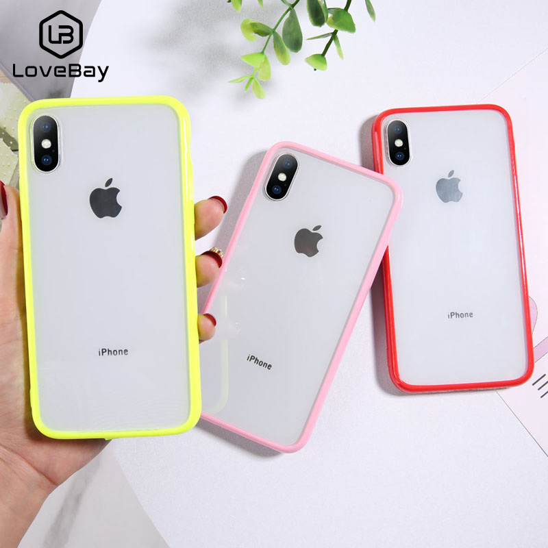 Lovebay Transparent Simple Plain Phone Cases For Iphone 11 Pro X XR XS Max Couples TPU Acrylic For Iphone 11 6 6S 7 8 Plus Cover