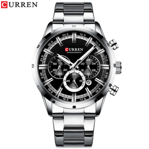 Image 2 - CURREN Luxury Fashion Quartz Watches Classic Silver and black Clock Male Watch Mens Wristwatch with Calendar Chronograph