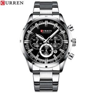Image 2 - Curren luxo moda quartzo relógios clássico prata e preto relógio masculino relógio de pulso masculino com calendário cronógrafo