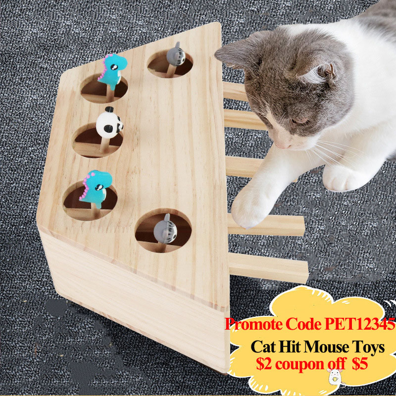 2020 New Wood Cat Hit Gophers Toys Interactive Puzzle Catch Mouse Game 3/5 Holes Indoor Mouse Seat Scratch Tease Cat Toys