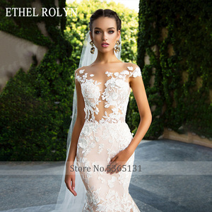 Image 2 - ETHEL ROLYN Sexy Backless Mermaid Wedding Dress 2020 Short 3D Flowers Illusion Appliques Wedding Gowns vestido de novia