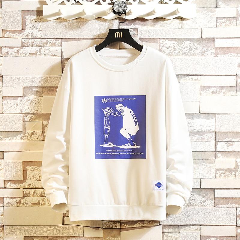 Dropshipping Autumn Sport INS Baggy Cotton Sweatshirt 2019 Men Cartoon Sweatshirt Casual Male Pullover Mens