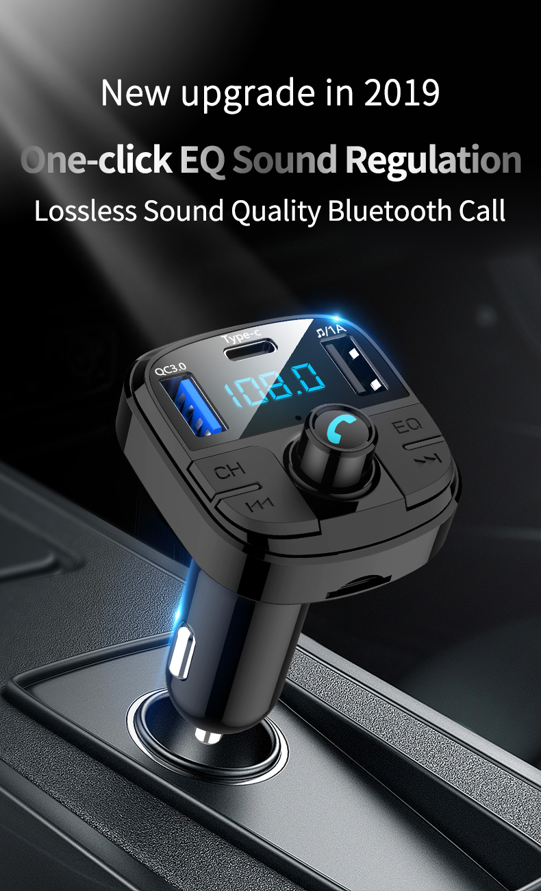 Quick charge 3.0 FM Transmitter Car Bluetooth 5.0 FM Radio Modulator Car Kit TYPE-C Dual USB Car Charger Handsfree MP3 Player image