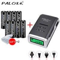 PALO 8 piezas AA 3000mah NI-MH 1,2 V baterías recargables aa batería recargable con aa LCD cargador