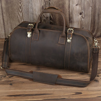 Luxury Pure Handmade Crazy Horse Leather Hasp Men's Travel Bags Vintage Perfect Quality Genuine Leather Big Duffle Bag