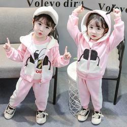 Зимний теплый комплект одежды для маленьких девочек, двухслойный вельветовый толстый хлопковый костюм для девочек и мальчиков, толстовка с...