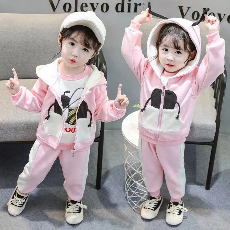 Winter Warm Baby Girls Clothing Set Bear Double Layer Velvet Thick Cotton Suits For Girls And Boys Hoodies Jacket And Pants 3Pcs