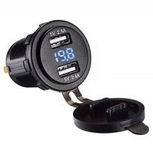 Motorcycle Car USB Charger Socket Voltmeter Car Dual USB Charger Adapter Voltage 4.2A 12V car usb waterproof charger dual usb 12v 24v 3 1a ship type dual usb car charger voltmeter adapter for samsung iphone
