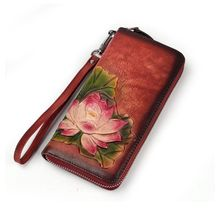 Women Long Leather Wallet Card Holder Embossing Flower Coin Wristlet Purse Handbag Zipper Phone Bag