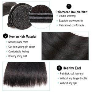 Image 4 - 黒真珠事前色 3 バンドルと閉鎖ストレート人間の髪のバンドル閉鎖ブラジル毛織りレミーバンドル髪