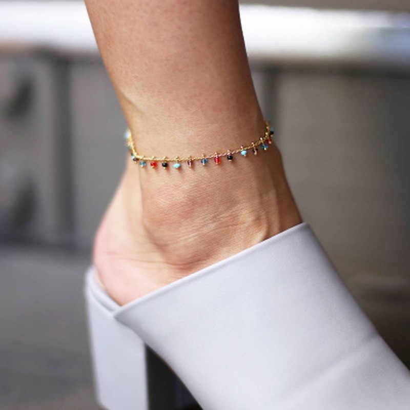 ファッション流行足ジュエリーカラフルなクリスタルラインストーンドロップアンクレット夏裸足足首脚ブレスレット女性