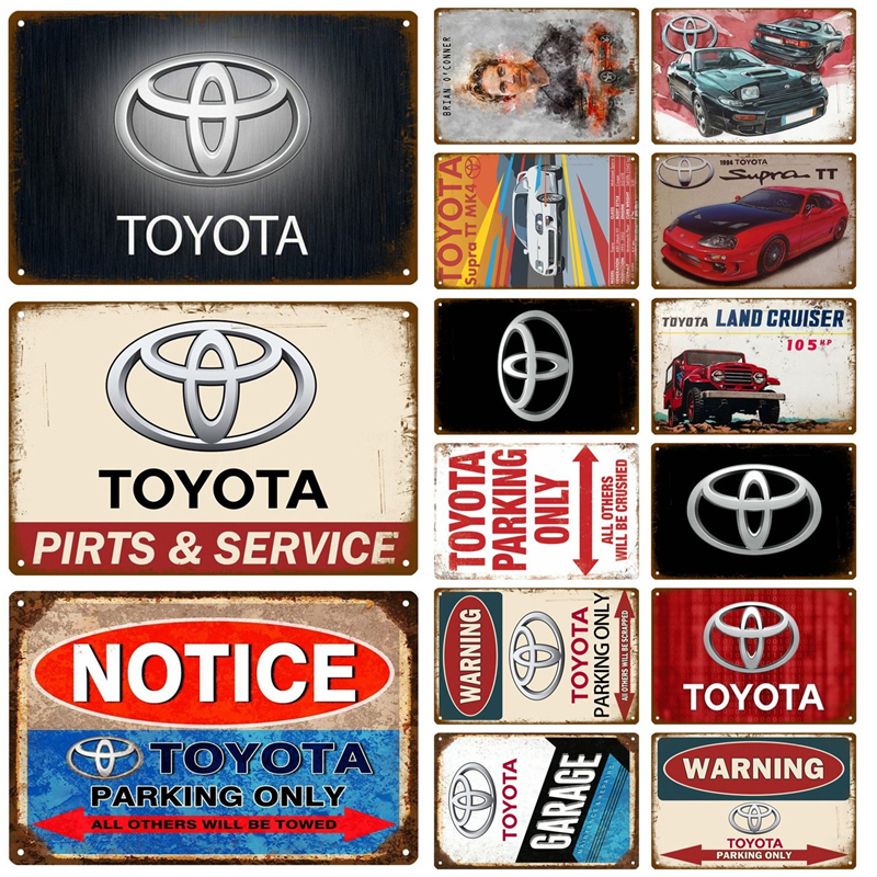 Toyota Car Plaque Metal Vintage Tin Sign Pin Up Shabby Chic Decor Metal Sign Vintage Bar Decoration Metal Poster Pub Metal Plate