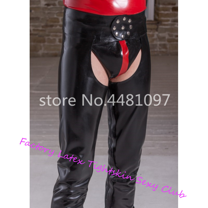 <font><b>Sexy</b></font> Man's Latex Rubber <font><b>Chaps</b></font> Latex Long Pants With Inside Zip Men's Latex Rubber Trousers with Underwear image