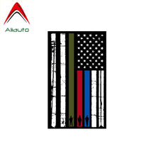 Aliauto Reflective Car Sticker Vertical Flag American Flag Firefighter Police Military Anti-UV Accessories PVC Decal,12cm*7cm(China)