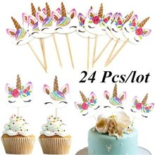 24 stks/set Eenhoorn Cartoon Cupcake Toppers Cake Decorating Insert Card Pick Bruiloft Kids Birthday Party Decor Levert(China)