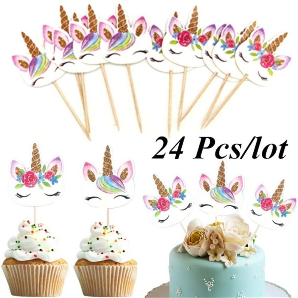 24Pcs/Set <font><b>Unicorn</b></font> Cartoon Cupcake Toppers Cake <font><b>Decorating</b></font> Insert Card Pick Wedding Kids Birthday Party <font><b>Decor</b></font> Supplies image
