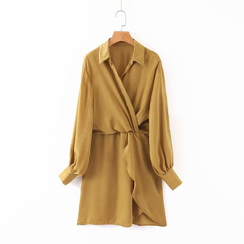 Elegant women solid color turn down collar kneeth dress female long sleeve elastic waist vestidos autumn casual dresses DS2764