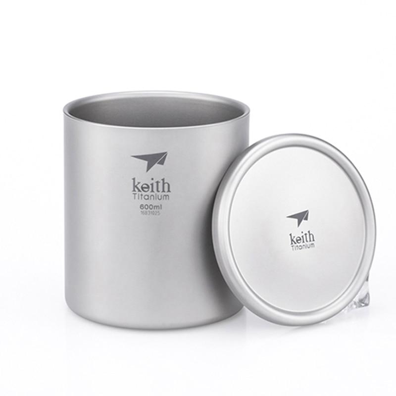 Doppel Wand Becher Kaffee Becher Wärmedämmung Büro Becher Doppel Kaffee Titan Tasse Drink Milch Reise Camping Becher 600ML