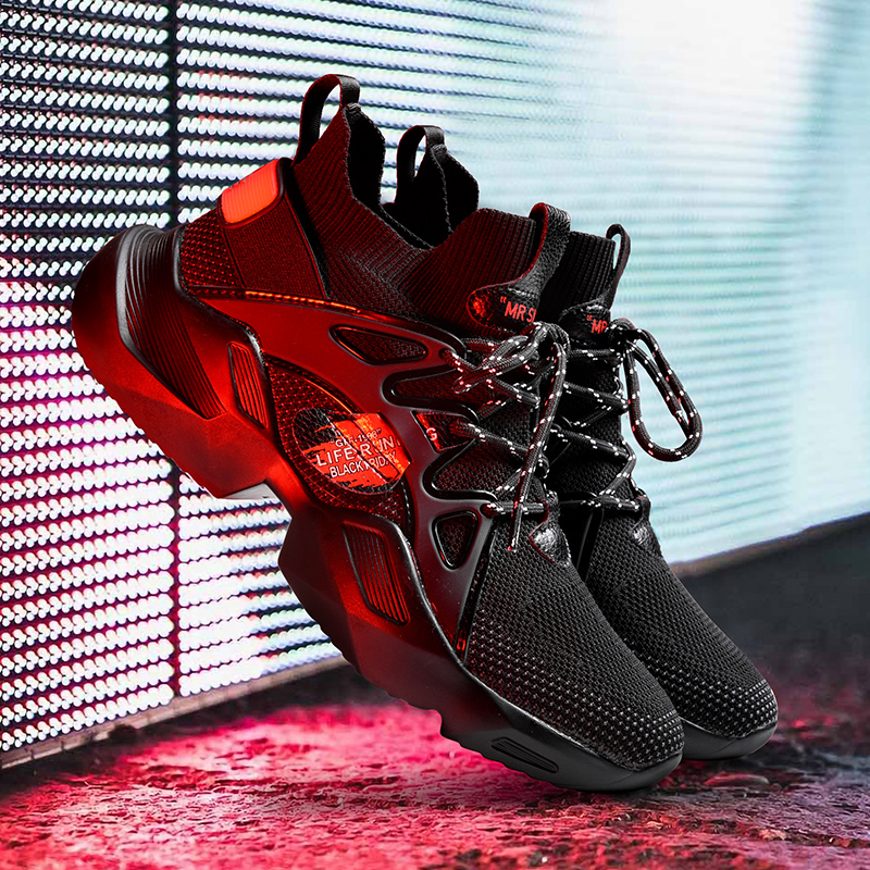 2020 Shoes Causal Man High Top Shoes Sneakers Men Breathable Men Fly Weave Mesh Boots Shoes Fashion Sneakers Men Footwear