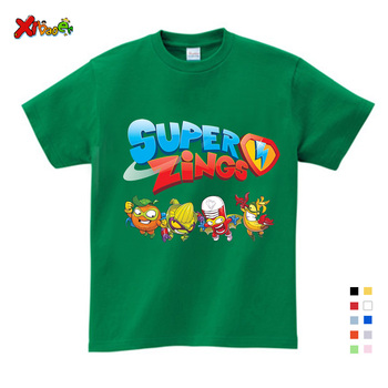 Chłopcy dziewczynka Tshirt Los Super Zings seria fortepian Superzings koszulki dla dzieci maluch dziecko dzieci nadrukowana moda białe koszulki tanie i dobre opinie COTTON Aktywny Cartoon REGULAR O-neck Krótki Pasuje prawda na wymiar weź swój normalny rozmiar Unisex T20200803