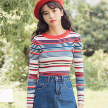 Elastic Force Casual Autumn Winter Sweater Oversized Women Long Sleeve Pullover Sweaters Striped Camo Korean