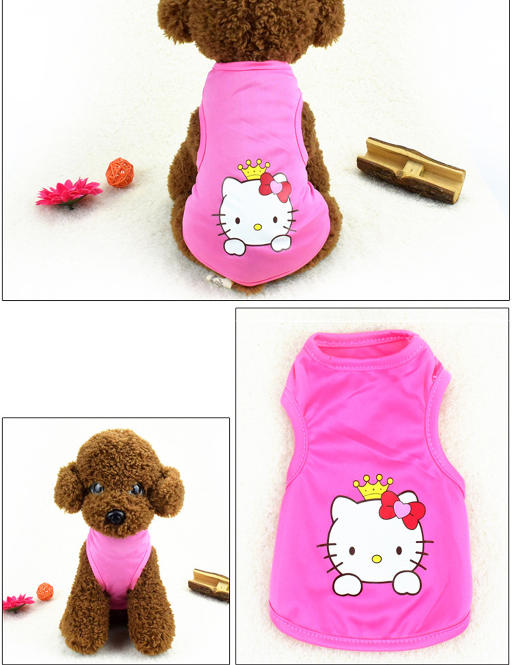 Pet Cat Clothes for Cats Summer Vest T Shirt Dog Cat Clothes Costume for Small Dogs Cartoon Vest for Puppy 35 (29)