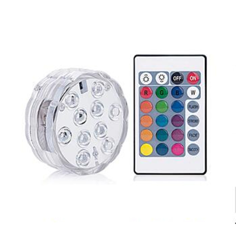 RGB Submersible Light Battery Operated Underwater Night Lamp 10 Leds Remote Controller For Outdoor Bowl Garden Party Decoration