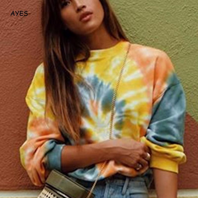 Tie Dyeing Hoodies 2019 Autumn Long Sleeve Yellow Sweatshirt Women Loose Streetwear Fashion Female Dye Pullover