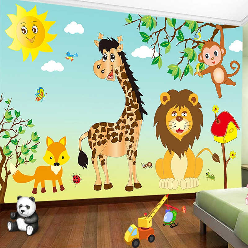 Custom Mural Kindergarten Cartoon House Animal Baby Room Children Girl Boy Room Bedroom Decor Wall Painting Photo Wallpaper Lion Wallpapers  - AliExpress