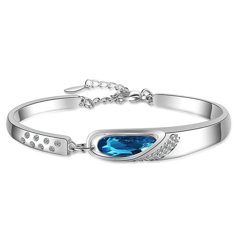 Women's Fashion Charm Sea-blue Bracelets Heart of the ocean Zirconia Tension Setting Crystal Shiny Bracelet Jewelry For Lady