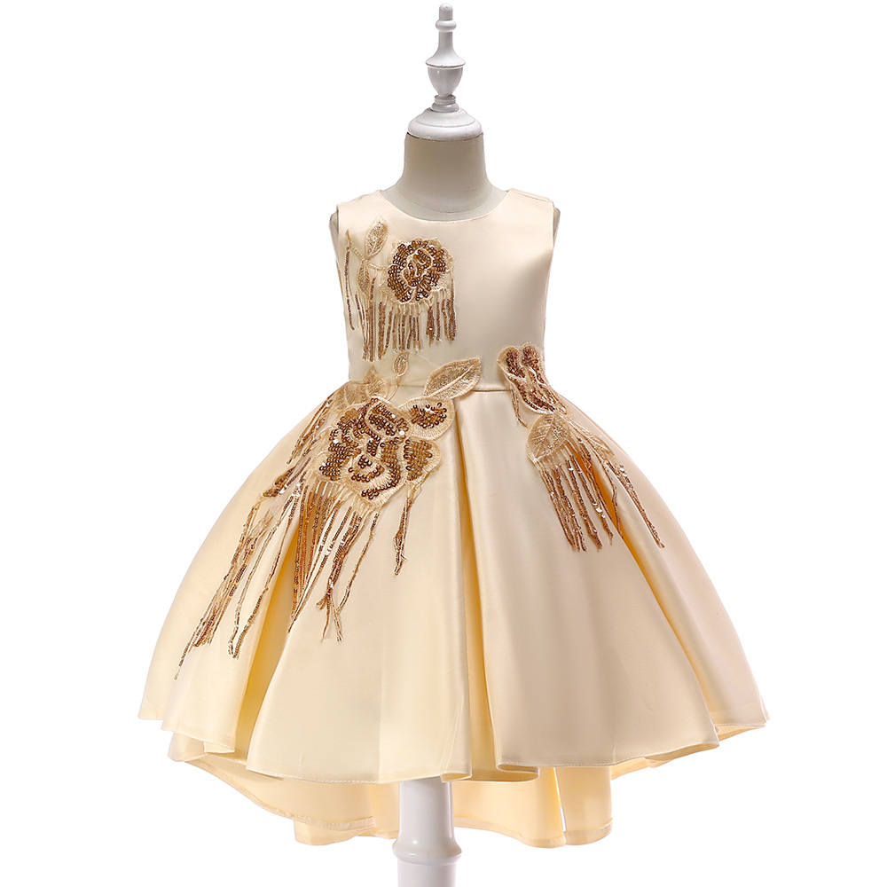 2019 New Style Europe And America Sequin Tassels GIRL'S Gown Late Formal Dress Catwalks Host Piano Costume Princess Skirt