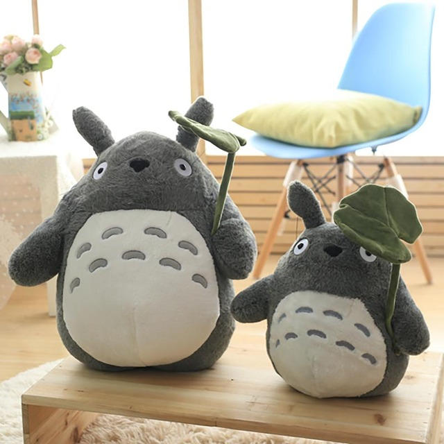 Totoro Plush Toy Cute Plush Cat Japanese Anime Figure Doll Plush Totoro With Lotus Leaf Kids Toys Birthday Christmas Gift 2