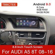안드로이드 9.0 4 + 64GB 차량용 멀티미디어 플레이어 아우디 A5 B8 8T 2008 ~ 2016 MMI 2G 3G GPS 네비게이션 헤드 유닛 스테레오 터치 모니터 dvd
