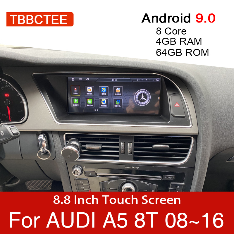 Android 9.0 4+64GB Car Multimedia Player For Audi A5 B8 8T 2008~2016 MMI 2G 3G GPS Navigation head unit stereo touch monitor dvd(China)
