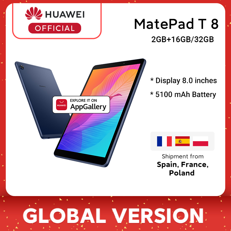Versão global huawei matepad t8 2gb16gb lte tablet pc 8.0 polegada faceunlock 5100mah bateria grande suporte cartão microsd android10 t8