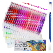 100 Colors Fine liner Drawing Painting Watercolor Felt-Tip Pen Art Marker Pens Dual Tip Brush Pen School Supplies Stationery 12 colors box 6mm 30mm art marker pen large advertising painting pen for office and school promotional playbill pens