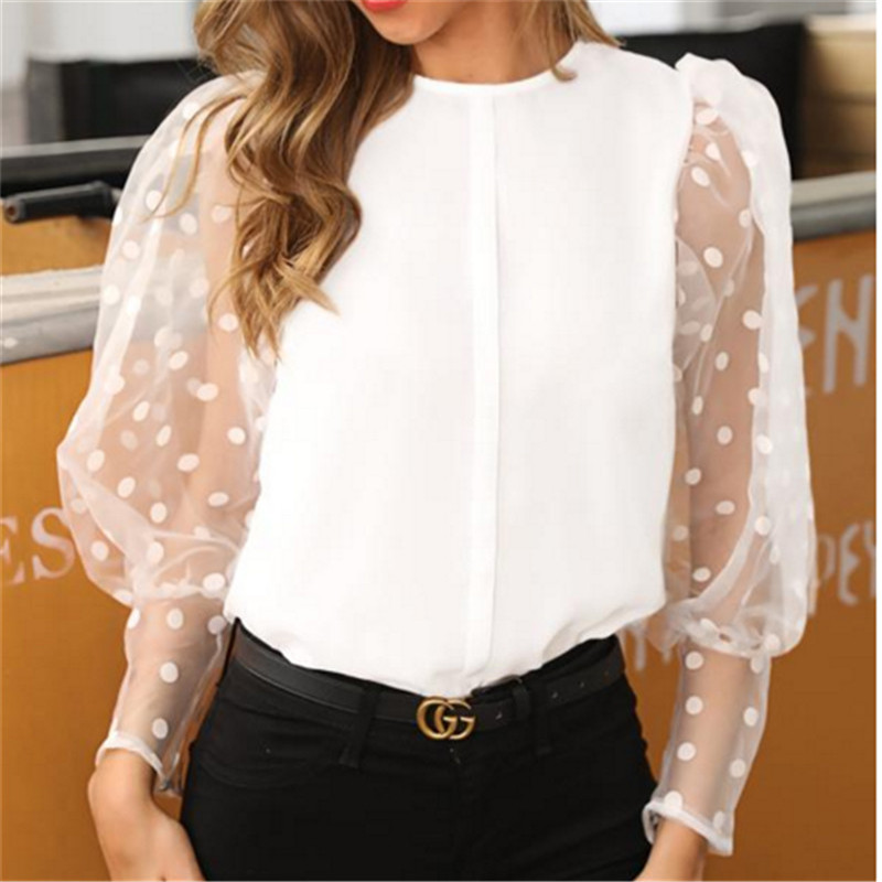 Elegant Women Mesh Sheer See-Through Crop Top Shirts Women Blouse Long Puff Sleeve Polka Dot Loose Slim Soft Outwear Female Tops