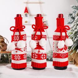 Knit Elk Snowflake Tree Pattern Wine Bottle Cover Christmas Decoration Pendant vinoteca beer bottle case cecotec wine bottle bag