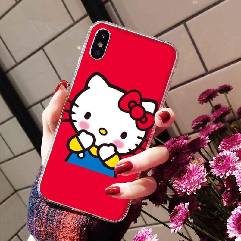 Lvtlv bonito kawaii hello kitty caso de telefone para o iphone 11 pro xs max 8 7 6 s plus x 5 5S se xr capa