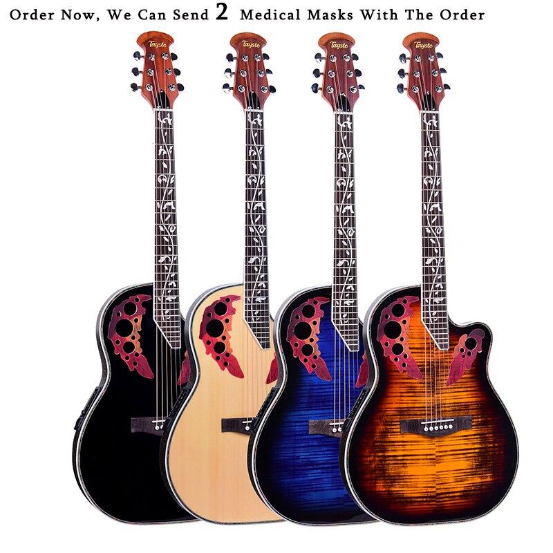 41 inch Folk Guitar 6 String Electric Box Guitar Light Spruce Guitar Rosewood Fingerboard Crack Guitar Pickup Concert AGT152