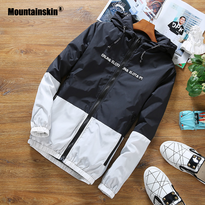 Mountainskin Men's Hooded Jackets Spring Autumn Male Thin Light Patchwork Outwear Fashion Slim Fit Coats Brand Clothing SA769