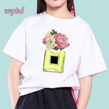 Flower and Perfume Print Kids T Shirt New Vogue Girl Top Harajuku White Round Neck Short Sleeves Tees Casual Toddler Girls Shirt trendy short sleeves skulls print round neck t shirt for men