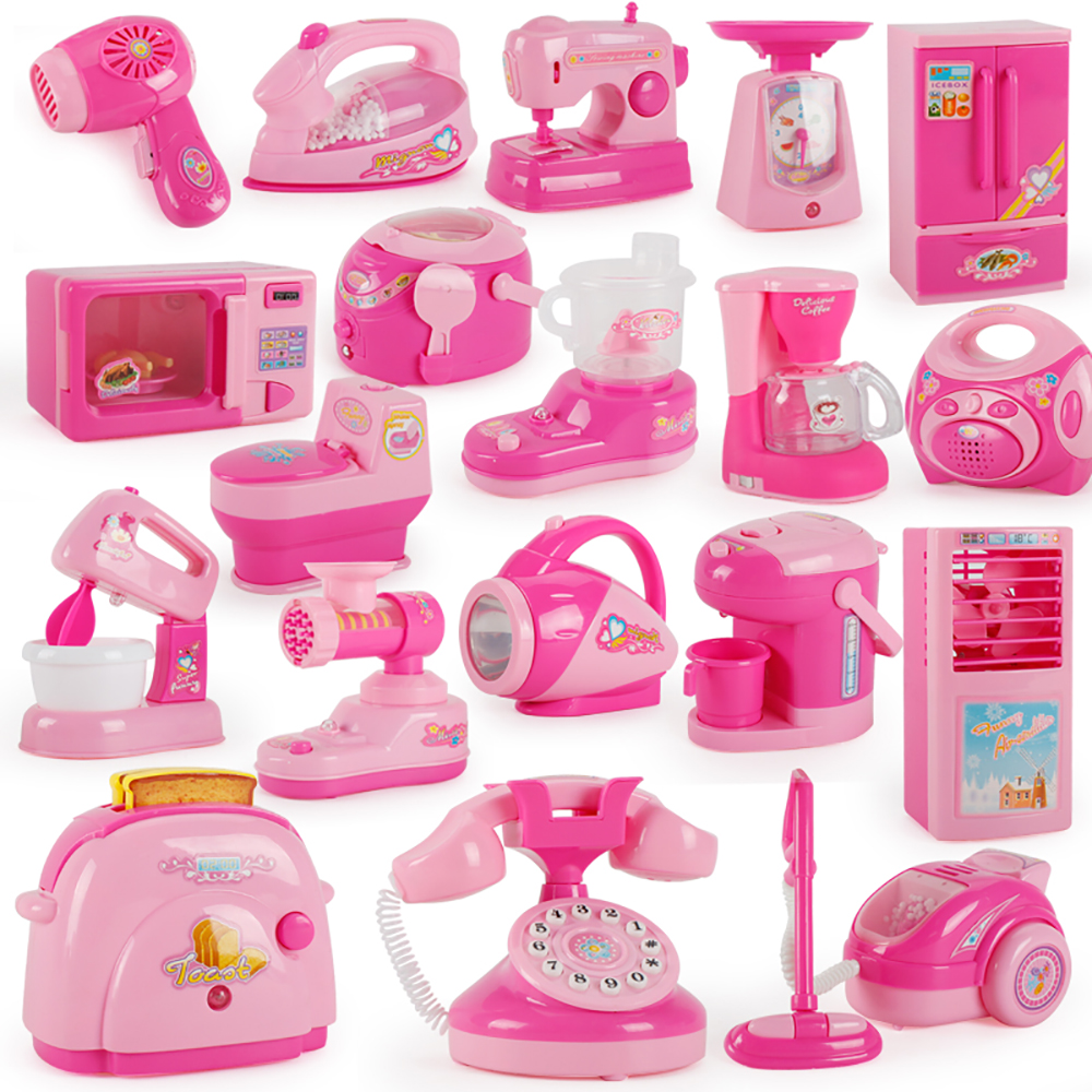 Mini Simulation Kitchen Toys Pretend Play  Light-up & Sound Pink Household Appliances Toy For Kids Children Baby Girl