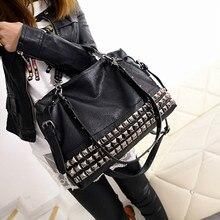 Hot Fashion Rivet Womens PU Leather Handbag New 2019 Silver Women Messenger Bags One Shoulder Z0006