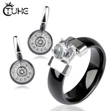 Fashion Crystal Bridal Wedding Jewelry Sets Black White Pink Healthy Ceramic Rhinestone Women Rings Stud Earrings Engagement(China)