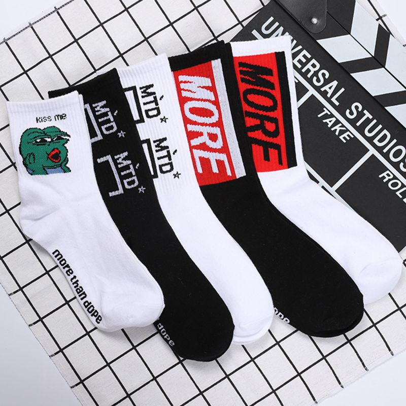 Unisex Unisex Harajuku Rib Trim Knitted Winter Mid-Calf Long Crew Socks Cartoon Frog Letters Printed Hip-Hop Cotton Hosiery 5