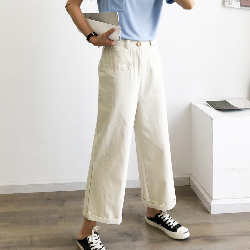 Zmra 2019 Autumn New Style Korean-style WOMEN'S Wear Solid Color Loose   Pants   Women's High-waisted Casual   Capri     Pants   Sub-