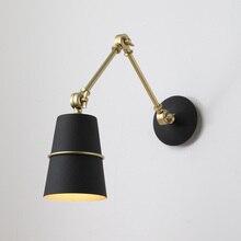 Modern Nordic Adjustable Industrial Long Swing Arm Black Wall Lamp Sconce Vintage E27 Bulbs Indoor Lights Bathroom Bedroom Foyer