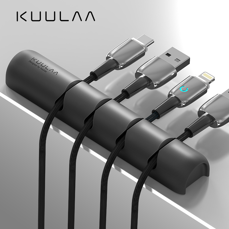 KUULAA Cable Organizer Silicone USB Cable Winder Desktop Tidy Management Clips Cable Holder For Mouse Headphone Wire